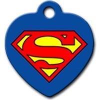 Dalis Pet Tag - Superman Logo Desenli Kalp Kedi Köpek Künyesi