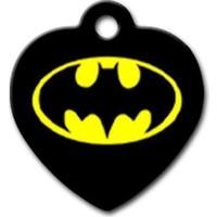 Dalis Pet Tag - Batman Logo Desenli Kalp Kedi Köpek Künyesi