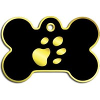 Dalis Pet Tag - Kemik Şeklinde 24 Ayar Altın Kaplama Büyük Köpek Künyesi (Siyah)