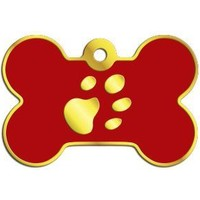 Dalis Pet Tag - Kemik Şeklinde 24 Ayar Altın Kaplama Küçük Köpek Künyesi (Kırmızı)