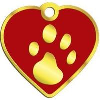 Dalis Pet Tag - Kalp Şeklinde 24 Ayar Altın Kaplama Küçük Köpek Ve Kedi Künyesi (Kırmızı)