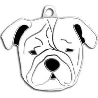 Dalis Pet Tag - Bulldog Köpek Künyesi (Beyaz)