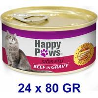 Happy Paws Beef İn Gravy Sığır Etli Ve Soslu Yetişkin Kedi Konservesi 80 Gr (24 Adet)