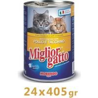 Miglior Gatto Tavuklu Ve Hindili Kedi Konservesi 405 Gr (24 Adet)