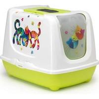 Moderna Trendy Friends Filtreli Kapali Kedi Tuvalet Kabı 50 Cm Yeşil