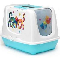 Moderna Trendy Friends Filtreli Kapali Kedi Tuvalet Kabı 50 Cm Mavi