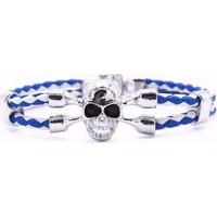 Yeni Model Mavi Beyaz Örgü Deri Halat Gümüş Renk Kurufa Moda Bileklikler