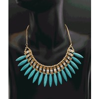 Bohomia Moda Bayan Takı Kristal Kolye Zincir Gerdanlık Chunky Mavi Doğal Taşlı Kolye