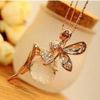 Moda Altın Kaplama Peri Kolye Kristal Angel Wings Uzun Zincir Kolye Takı