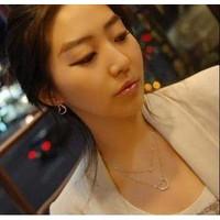 Kore Tasarım Kolye Moda Çift Kalp 2li Kolye Güzel Hediyeler
