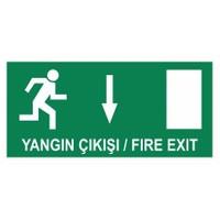 """Modülerteknik """"Yangın Çıkışı Fire Exit Aşağı"""" 10X25cm"""