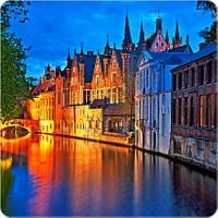 Fotografyabaskı Bruges Kanalı - Flandra Bardak Altlığı Baskı 4'lü Set