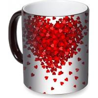 Fotografyabaskı Kırmızı Kalpler Sihirli Siyah Kupa Bardak Baskı