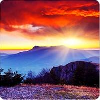 Fotografyabaskı Ukrayna Dağ Manzarası Bardak Altlığı Baskı 4'lü Set