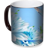 Fotografyabaskı Mavi Çiçek ve Kelebek Sihirli Siyah Kupa Bardak Baskı