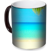 Fotografyabaskı Sahil ve Palmiye Yaprakları Sihirli Siyah Kupa Bardak Baskı