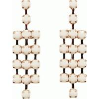 Beyaz Küpe 3 Sıra Halkalı Uzun Şık Tasarım Moda Küpe