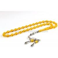 Çınar Tesbih Ateş Kehribar Sarı Renk Gümüş Püsküllü