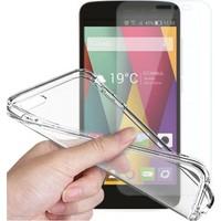 Angel Eye General Mobile Discovery 4G Kırılmaz Cam Ekran Koruyucu + Şeffaf Silikon Kılıf