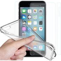 Angel Eye iPhone 6S Kırılmaz Cam Ekran Koruyucu + Şeffaf Silikon Kılıf