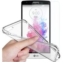 Angel Eye LG G3 Stylus Ekran Koruyucu + Şeffaf Silikon Kılıf