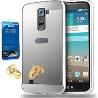 Teleplus LG K10 Aynalı Metal Kapak Kılıf Gümüş + Kırılmaz Cam