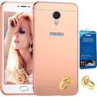 Teleplus Meizu M3 Note Aynalı Metal Kapak Kılıf Rose Gold + Kırılmaz Cam