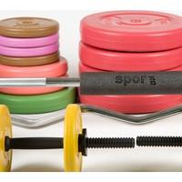 Spor724 157 Kg. Ağırlık Dambıl Bar Plaka Seti Kondisyon Gym Fitness Spor Aleti + Bar Boyun Göğüs Pedi PS157-2