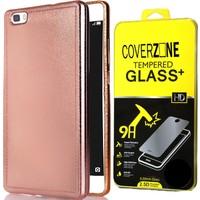 CoverZone Huawei P8 Lite Kılıf Metaliz Dizayn Silikon + Kırılmaz Cam