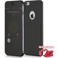 CoverZone iPhone 6 6S Kılıf Totu Design invisible Window Kapaklı Siyah + 3d Araç Kokusu