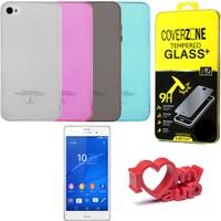 CoverZone Samsung Galaxy A8 Kılıf 0,3mm Silikon + Temperli Cam + Araç Kokusu