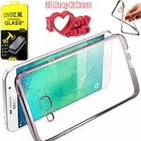 CoverZone Samsung Galaxy J7 2016 Kılıf J710 Kılıf Renkli Lazer Silikon + Kırılmaz Cam + 3d Araç Kokusu