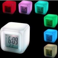 Vip 7 Renk Değiştiren Dijital Saat Termometre ve Alarmlı