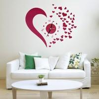 Vip Kalp Tasarımlı Duvara Yapışan Saat
