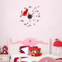 Vip Kedi Tasarımlı Duvara Yapışan Saat