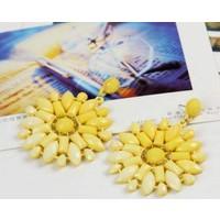 Myfavori Yeni Moda Canlı Renkli Geometrik Sarı Büyük Küpe Çiçek Tasarım Güzel Şık Takılar