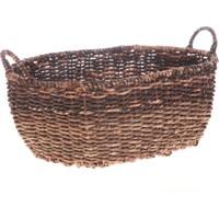 Bacbac Hasır Oval Sepet Koyu Kahverengi Büyük
