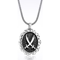 Mina Silver Motifli Zülfikar Muhteşem Kılıç Taşsız Gümüş Erkek Kolye