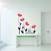 Modern Red Flowers Duvar Sticker