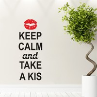 Keep Calm and Take a Kiss Duvar Sticker