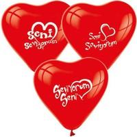 Seni Seviyorum Basklı Kırmızı Kalpli Balon 100 Adet