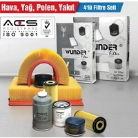 Skoda Roomster 1.4 Tdi (5J) 59Kw/80Ps (06/06 -> 04/10 ) Hava-Yağ-Polen-Yakıt Filtre Seti