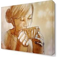 Dekor Sevgisi Kahve İçen Kadın Tablosu 40x40 cm