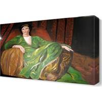 Dekor Sevgisi Yeşil Elbiseli Asil Kadın Tablosu 45x30 cm
