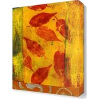Dekor Sevgisi Kırmızı Yaprak Desenleri Tablosu 45x30 cm