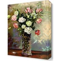 Dekor Sevgisi Vazodaki Pembe Beyaz Çiçekler Tablosu 45x30 cm