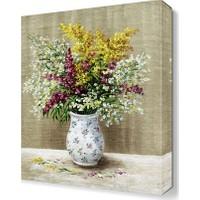 Dekor Sevgisi Beyaz Vazodaki Renkli Çiçekler Tablosu 45x30 cm