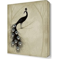 Dekor Sevgisi Siyah Tavus Kuşu Tablosu 45x30 cm