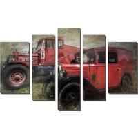 Dekor Sevgisi Nostaljik Kırmızı Arabalar Tablosu 84x135 cm