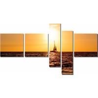 Dekor Sevgisi Gün Batımı ve Kayık Tablosu 90x170 cm